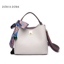 Latest 2017 Women Solid Color PU Leather Handbags Bucket Bag Scarf Women Shoulder Bag Messenger Crossbody Bag Bolsa(China)