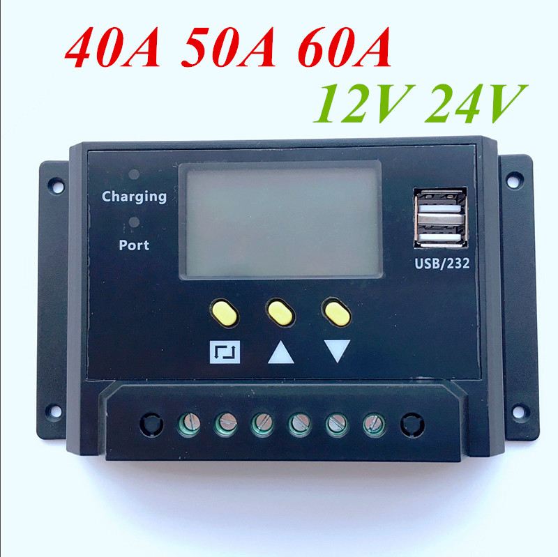 1 Pc X 12/24V 40A 50A 60A LCD Display Dual 5V USB Solar Panel Battery Charge Controller Regulator charge period management<br>