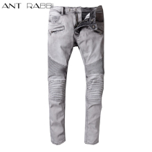 2017 new Ant rabbi Mens Embellished Ribbed Stretch Pants Slim type Washedlight Grey Denim Biker Jeans Slim Trousers Size 29-42(China)
