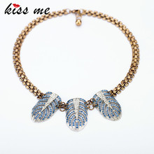 New Styles 2017 Fashion Jewelry Light Blue Color Rhinestone Hollow Feather Pendant Necklace For Christmas Gifts