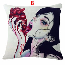 Maiyubo Terrifying Women Home Pillow Cover Fashion Design Cotton Linen Cushion Cover Cheap Sale Perfect Gifts Pillow Case PC295(China)