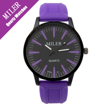 MILER Unisex Black Watches for Ladies Purple Candy Colors white Silicon Quartz Cheap Womens Watches Casual Lovers Relojes Mujer