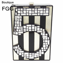 Famous Brand Number 5 Letters Striped Patchwork Women Mini Evening Party Prom Acrylic Box Handbag Clutch Hardcase Clutches Bag