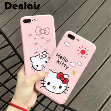 New Lovely Hello Kitty Case For iPhone 7 6S Full Body 360 Coverage Cover + Tempered Glass Phone Cases For iPhone 6 Plus 7Plus