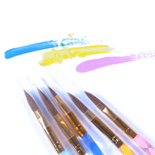 Free shipping 5Pcs/set Acrylic UV Gel Nail Builder Brush Pen Set nail art brush 2-Ways Nail Art Brush Pen Cuticle Pusher#X194(China)
