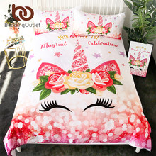 BeddingOutlet Lovely Unicorn Bedding Set Cartoon Duvet Cover for Kids Flower Star Home Textiles Eyelash Girls Bedspreads 3pcs(China)