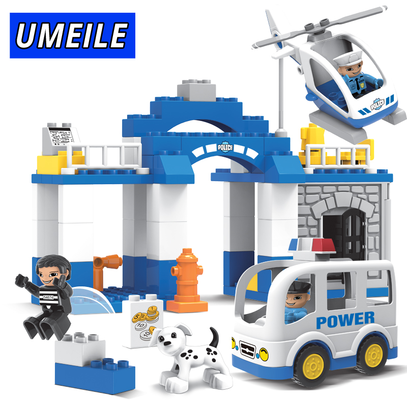 UMEILE Building Block 66PCS City Policeman Prisoner Figure Helicopter Car Diy Brick Educational Toys Compatible with Duplo Gift <br>