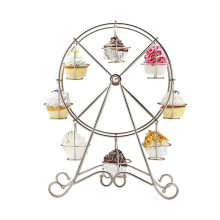 Stainless Steel 8-Cup Ferris Wheel Silver Cupcake Stand Cake Holder Decorating Display Wedding Party Supplies(China)