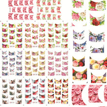 1sets 11designs Nail Art Sets French Tips Flower Beauty Water Transfer Foils Nail Art Stickers Nails Finger WrapsB133-143(China)