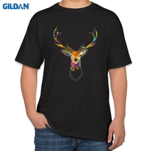 Causal T-Shirts Men 2017 Watercolor Deer Men T Shirts Funny Cotton Tee Shirt Homme Topic