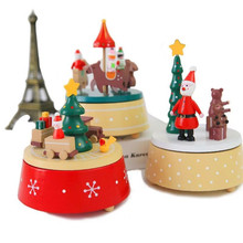 new 1pieces/lot carousel wood train music box Christmas decoration toy Christmas products window decoration kids toys(China)