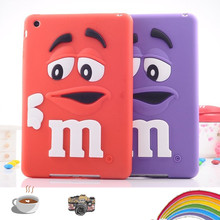 Kids Shockproof Cover Soft silicone M&M Chocolate Case For ipad mini 1 M Rainbow Beans cover For ipad mini 2 mini 3 Tablet Case