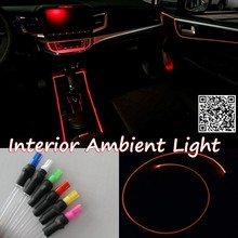 For VW Volkswagen Jetta Lamando Car Interior Ambient Light Panel illumination For Car Inside Cool Strip Light Optic Fiber Band(China)