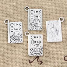 99Cents 8pcs Charms cook book recipe kitchen 17*11mm Antique Making pendant fit,Vintage Tibetan Silver,DIY bracelet necklace