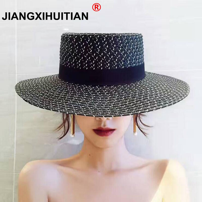 Wind Black White Striped Bowknot Summer Sun Hat Beautiful Women Straw Beach Hat Large Brimmed Hat