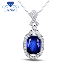 2.45 Carat Blue Tanzanite Pendant With Diamonds In 18K White Gold Pendant Cushion 7x10mm WP048(China)