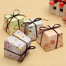 10 Pcs Floral Paper Candy Boxes Chocolate Box For Guest Wedding Favor Baby Shower Gift With Ribborns 4 Styles(China)