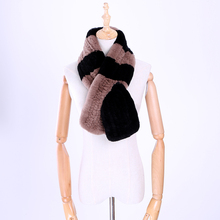 2017 Genuine Real Rex Rabbit Fur Knitted Winter Warm Scarf Scarves Mufflers Fluffy Soft Wraps Patchwork Color Russian 100cm(China)