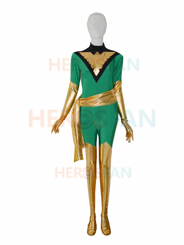 Jean Grey X-men Marvel Green Female Superhero Costume spandex halloween cosplay costumes zentai suit free shipping