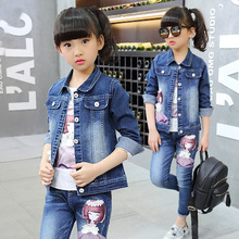 Children's clothing sets girls autumn cowboy suits big kids cartoon denim jackets baby girl leisure three pieces outerwear set