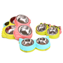 2017 Different size different choice Stainless Steel Pet Dog Bowl Puppy Food Drink Water Dish Cat Feeder for small dog large dog(China)