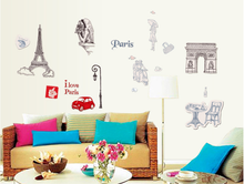 New Romantic Paris Bedroom Living Room Sofa TV Background Wall Stickers PPZ080(China)