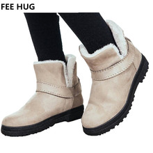 FEE HUG Big Size Woman Snow Boots Winter Flats Slip-on Casual Boots For Women Students Flats Mid-Calf Botas Female Shoes(China)