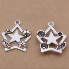 BULK 30 Zinc Alloy Sports Theme Basketball Soccer Baseball Football Charms Star Pendant Craft and Jewelry Supplier 23*27mm  2.4g