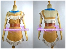 New Cosplay Ladies Fancy Dress Costumes Wild West Pocahontas Indian Costume Pocahontas Cosplay Dress customized any size(China)