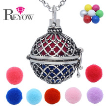 Angel Caller Chime Ball Bell Hollow Flower Large Cage Pendant Locket Aromatherapy Fragrance Essential Oil Diffuser Necklace