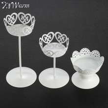 KiWarm Elegant Metal Iron Candle Holder Wedding Cupcake Stand Cake Dessert Holder Display Flower Vase For Home Party Decor Gift