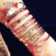 Fashion accessories jewelry brave letter wish design cuff bangle lovers' gift B3401(China)