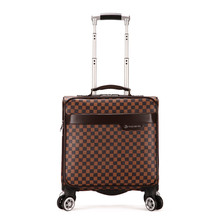 16'' Air travel luggage top grade PU universal wheel trolley suitcase Business travel case Rolling boarding box for men women