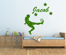 Customise your kids name with a football player wall sticker, great gift For Boy's Birthday party Decoration Kids bedroom D596