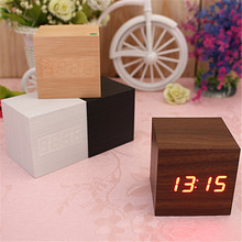 Wood Square Blue LED Alarm Digital White Desk Clock Wooden Thermometer USB/AAA Thermometer Date Display Vioce Touch Activated(China)