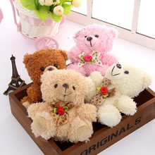 Kawaii Bow Tie Floral Teddy Bear Plush Toys Small Sitting Bear Dolls Brinquedos 12pcs 12cm