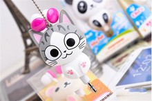 Cute Cartoon Earphone Cheese cat Automatic Retractable Earphones For iPhone & mobile Phone auriculares Portable Sport Headset