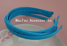 10PCS 10mm Copen Blue Grosgrain Ribbon Wrapped Plain Plastic Headbands no teeth handmade kids Hair Accessories(China)