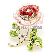 Cheap Women Small Korean Pink Enamel Rhienstone Dress Cake Brooch Bouquet Hijab Scarf Crystal Bridal Bulk Poppy Brosches X1454(China)
