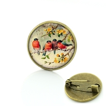 Vintage Woman animal brooch Glass cabochon dome art picture birds brooches pins for Suit Sweater carves Animal Jewelry BP01