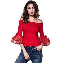 Buy Elegant Womens Tops Blouses Shoulder Sexy Women Clothing 2017 Solid Black Red Slash Neck Flare Sleeve Slim Blouse for $12.74 in AliExpress store