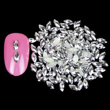 1000PCS/LOT Silver Plated Marquise Nail Art Decorations Rhinestones Resin Horse Eyes Nail Charms Jewelry Acessories WY506