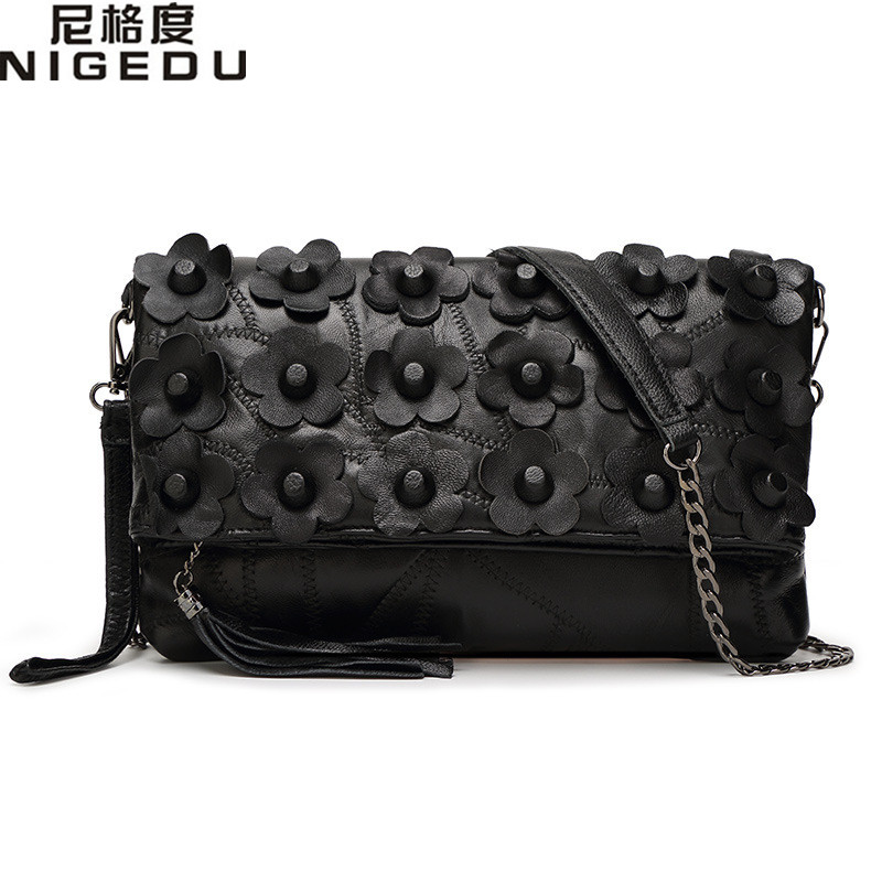 Genuine leather Flowers tassel clutch sheepskin Crossbody Bags for Women chain messenger Shoulder bag rivet Womens Clutches<br><br>Aliexpress