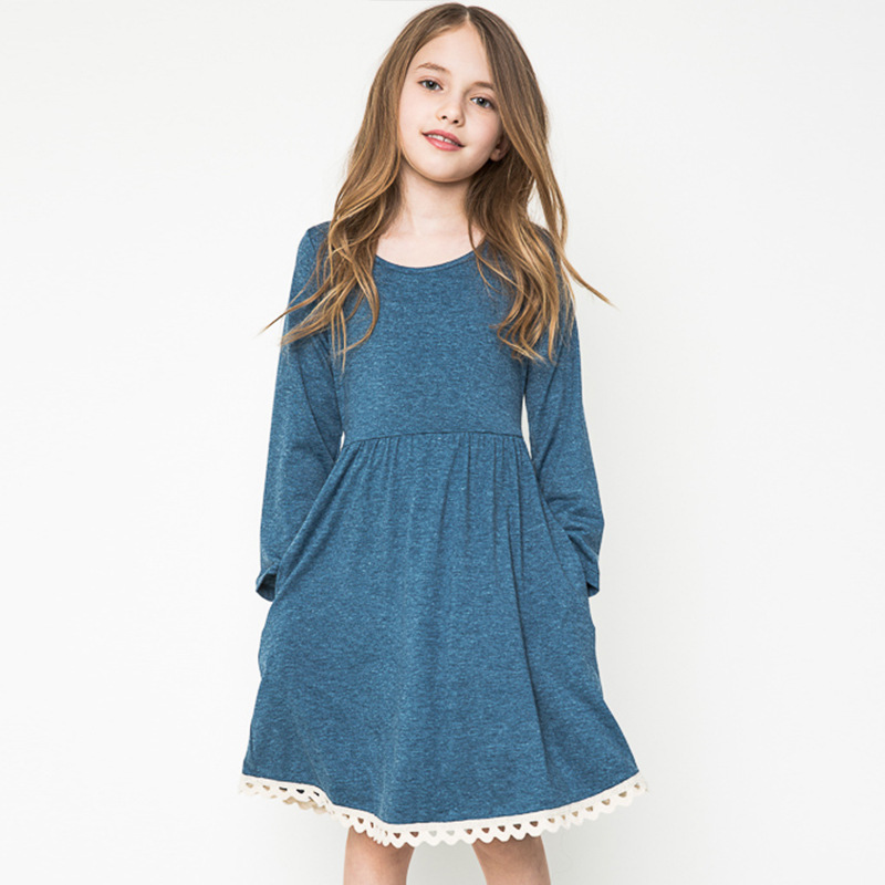 casual dresses for teens girls long sleeve costumes autumn age 13 dresses children clothing 12 years fashion anchor blue clothes<br><br>Aliexpress