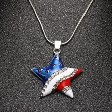 1 Pcs New Arrive USA Flag Necklace Enamel Heart Star Pendant 4th of July Independence Day Crystal Jewelry Best Gift(China)