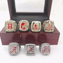 Wholesale 7 sets 1992/2009/2011/2012/2015/2015 Alabama Crimson Tide National Replica Championship Rings With Wooden Boxes