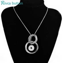 Rivca Snap Button Pendant & Necklace For Women's Jewelry New Fashion Double circle Ancient Silver Plating Necklaces P01226(China)