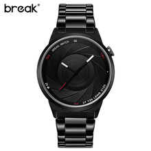 BREAK Photographer Series Unique Camera Style stainless Strap Men Women Casual Fashion Sport Quartz Modern Gift Wrist Watches(China)