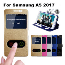 A5 2017 Case High Quality Flip Cover Case for Samsung Galaxy A5 2017 A520F Leather Phone Bags Cases with Stand Function A5 Cover(China)