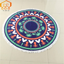 2016 New150*150 Women Bath Towel Mmicrofiber Fabric Printed Round Beach Towels With Tassel Circle Beach Towel Serviette